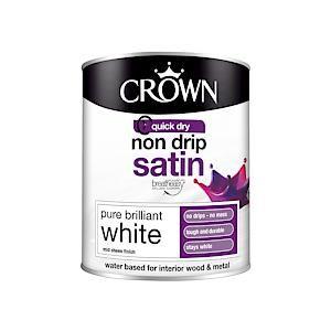 Crown Non Drip Satin Pure Brilliant White 750Ml