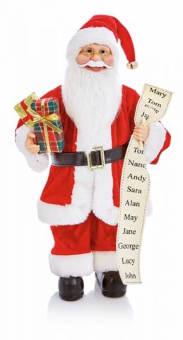 Standing Santa With List & Parcel Red