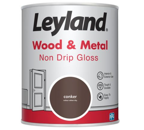Leyland Wood & Metal Non Drip Gloss Conker 750Ml