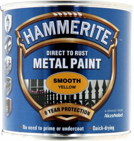 Hammerite Metal Paint Smooth 250Ml Yellow