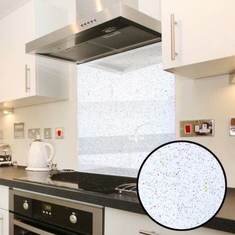 Mood Splashbacks Glass Splashback White Galaxy 600 X 750Mm