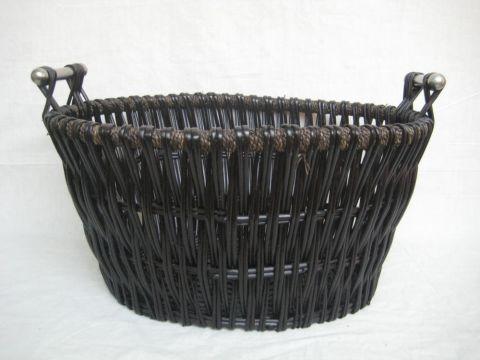 Inglenook Dark Wicker Basket With Chrome Handles