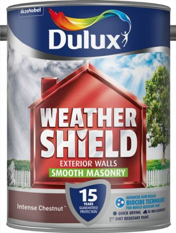 Dulux Weathershield Smooth Masonry Paint 5L Intense Chestnut