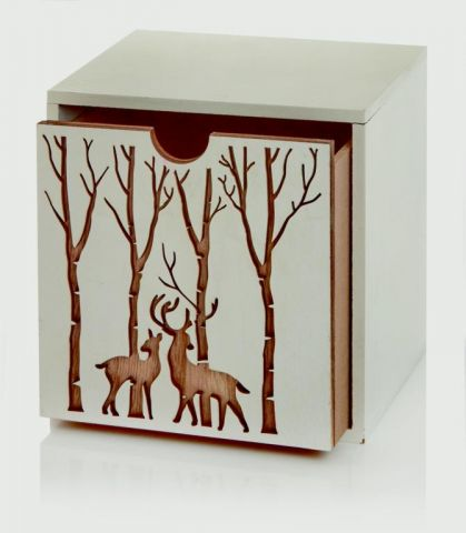 Reindeer Storage Boxwhite Pk/12