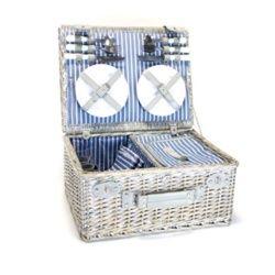 Yellowstone Wicker Picnic Basket Cooler 4 Person