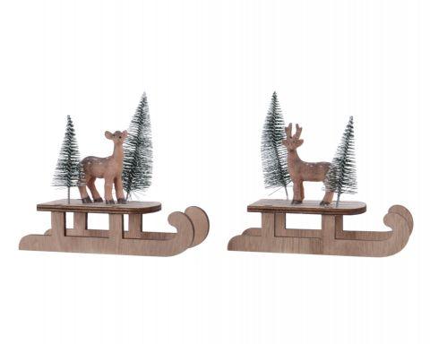 Plywood Xmas Sledge & Deer