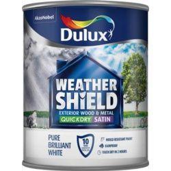 Dulux Weathershield Quick Dry Satin 750Ml Pure Brilliant White
