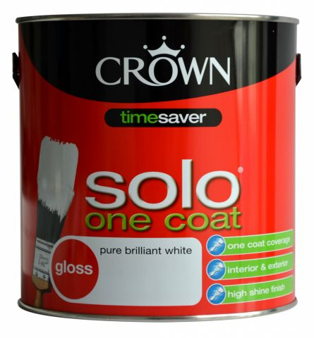 Crown Solo One Coat Gloss 2.5L Pure Brilliant White