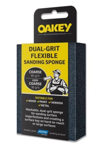 Oakey Dual-Grit Flexible Sanding Sponge - 90 X 65 X 25Mm Coarse/Very Coarse