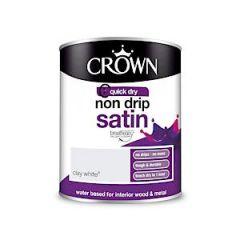 Crown Non Drip Satin Clay White 750Ml