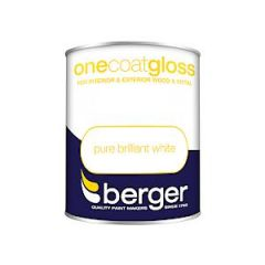 Berger One Coat Gloss Pure Brilliant White 750Mls