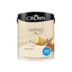 Crown Breatheasy Matt Emulsion  - 5 Litre - Ivory Cream