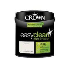 Crown Easyclean Matt Emulsion Sail White 2.5Litre