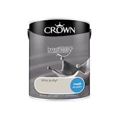 Crownr Matt Emulsion        Grey Putty 5L