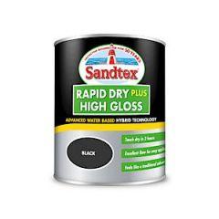 Sandtex Rapid Dry Gloss Black 750Ml