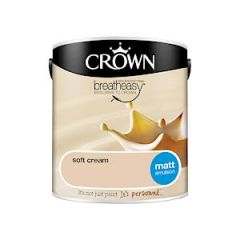 Crown Breatheasy Matt Emulsion - 2.5 Litre - Soft Cream