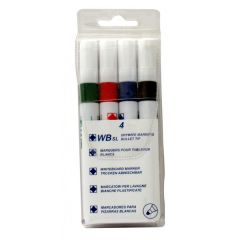 Dry Wipe Marker Pens Assorted Colours Pack Of 4