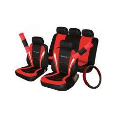 Car Seat Steering Wheel Seatbelt Cover Sport Set Blackred