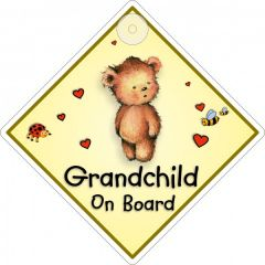 Suction Cup Diamond Sign Grandchild On Board