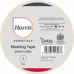 Harris Essentials Masking Tape Pack 2 24mm x 25m