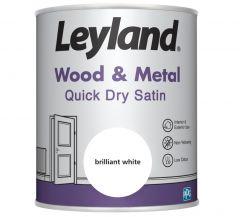 Leyland Wood & Metal Quick Dry Satin Brilliant Wht 750ml