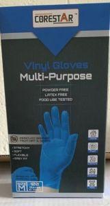 Corestar Blue Vinyl Powder Free Disposable Gloves