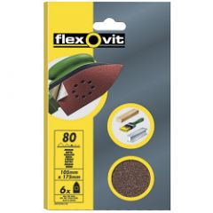 Flexovit Detail Sanding Sheets - 6 Pack (95 x 145mm) Assorted - 2 x 50 2 x 80 2 x 120