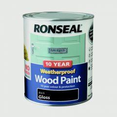 Ronseal 10 Year Weatherproof Gloss Wood Paint 750ml Black