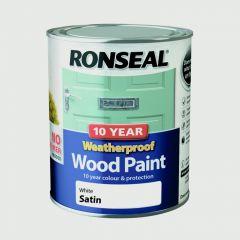 Ronseal 10 Year Weatherproof Satin Wood Paint 750ml White