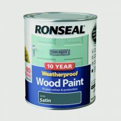Ronseal 10 Year Weatherproof Satin Wood Paint 750ml Grey