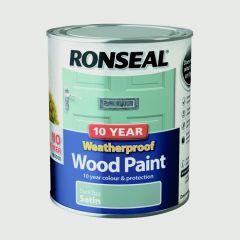 Ronseal 10 Year Weatherproof Satin Wood Paint 750ml Duck Egg