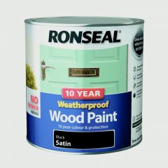 Ronseal 10 Year Weatherproof Satin Wood Paint 2.5L Black
