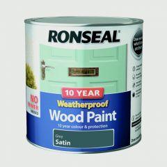 Ronseal 10 Year Weatherproof Satin Wood Paint 2.5L Grey