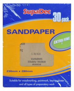 SupaDec General Purpose Sandpaper Pack 30 Extra Fine 1