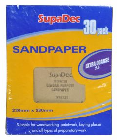 SupaDec General Purpose Sandpaper Pack 30 Extra Coarse 2.5