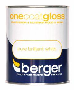 Berger One Coat Gloss 750ml Pure Brilliant White