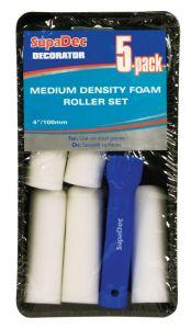 SupaDec Foam Mini Roller & Tray Set 4/100mm 5 Pack