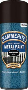 Hammerite Metal Paint 400ml Aerosol Hammered Black