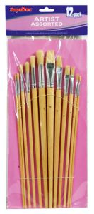 SupaDec Wooden Handle Artist Brush Set 12 Piece