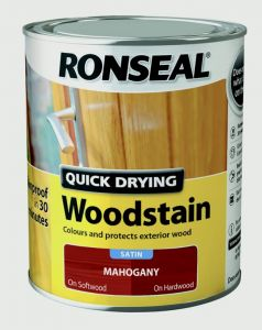 Ronseal Quick Drying Woodstain Satin 750ml Mahogany