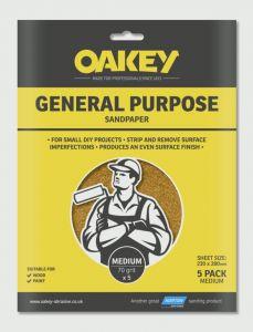 Oakey General Purpose Sandpaper 5 Pack Medium 280 X 230Mm