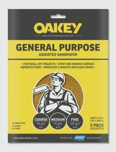 Oakey General Purpose Sandpaper 5 Pack Assorted - (1 X C 2 X M 2 X F) 280 X 230Mm