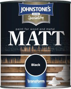Johnstone's Paint For Wood & Metal 750Ml Black Matt