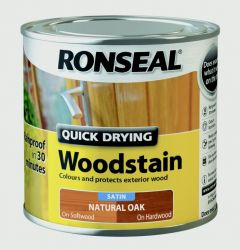 Ronseal Quick Drying Woodstain Satin 250Ml Natural Oak
