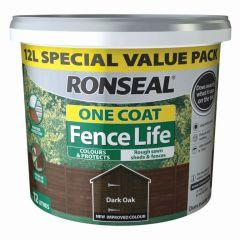 Ronseal One Coat Fence Life 12L Medium Oak