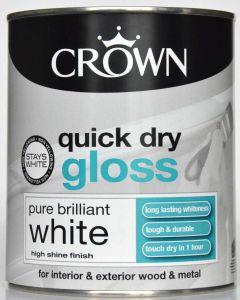 Crown Quick Dry Gloss 750Ml Pure Brilliant White