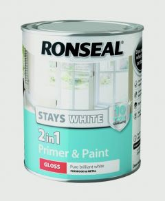 Ronseal Stay White 2In1 Primer & Paint White Gloss 750Ml