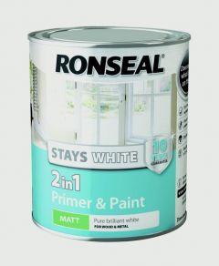 Ronseal Stays White 2In1 Primer & Paint White Matt 750Ml