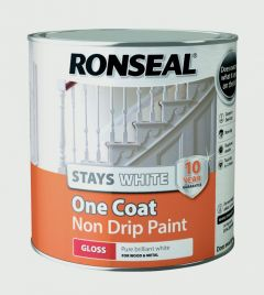 Ronseal Stays White One Coat Non Drip Paint White Gloss 2.5L