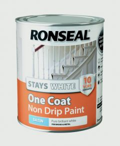 Ronseal Stays White One Coat Non Drip Paint White Satin 750Ml